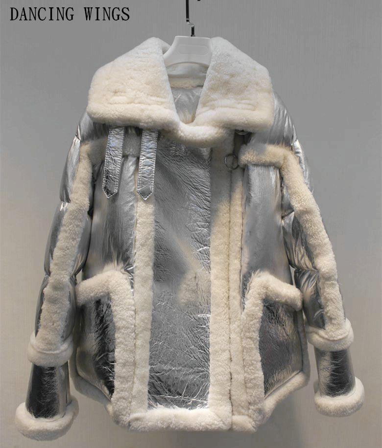 2018 nouveau manteau d'hiver femmes manteau de fourrure véritable ruban Véritable Mouton En Cuir Double-face De Fourrure veste duvet de canard blanc moto veste