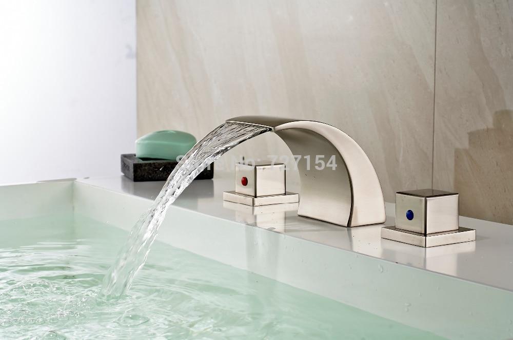 Free Shipping! Modern Nickel Brushed Basin Faucet Dual Square Handles Sink Mixer Deck Mounted