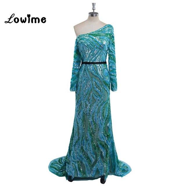 innovative design 98cc6 b381f US $239.2 20% di SCONTO Unico Colorato Sirena Abiti Da Sera Maniche Lunghe  Multicolor Prom Dress vestido de noche robe de soiree Abito Da Sera in ...