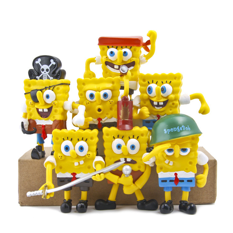 7Pcs / <font><b>Set</b></font> Funny Cute SpongeBob Changing <font><b>Shape</b></font> <font><b>Action</b></font> <font><b>Figures</b></font> Dolls Anime Toys Models DIY Ornaments Children Gifts Toys Figurine