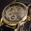 ORKINA Brand Men's Golden Steel Case Leather Strap Skeleton Automatic Mechanical Watch Montre Homme
