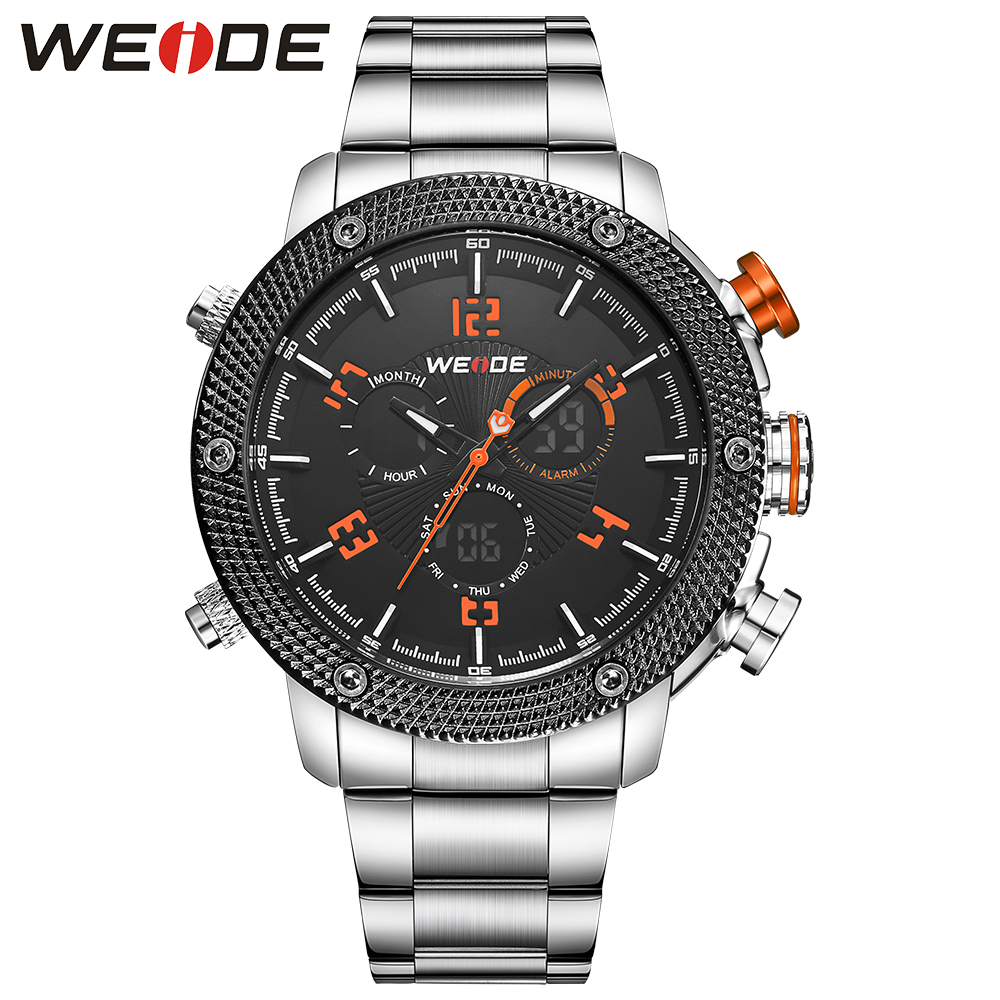 WEIDE Military Watch Analog LCD Digital Back Light Stainless Steel Band Date Stopwatch Alarm Men Quartz Watch Relogio Masculino weide 2 time zones men sports date lcd digital analog display repeater stopwatch quartz back light movement military watches men