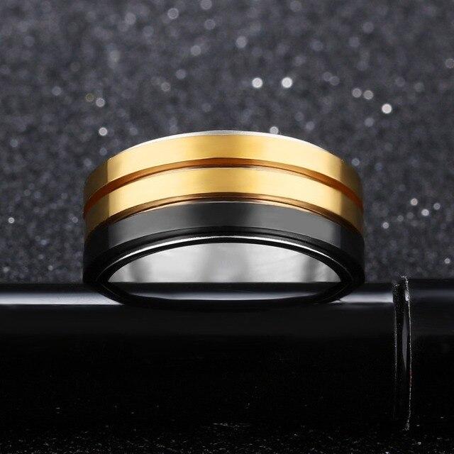 Фото кольцо мужское из титановой стали модное брендовое ювелирное