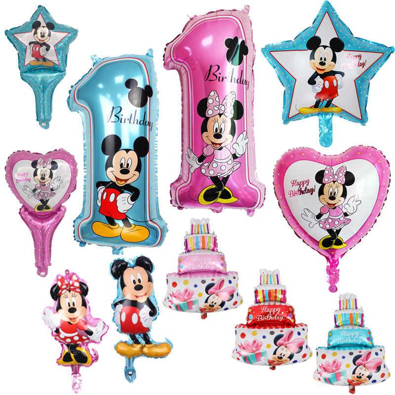 1psc/lote todo o estilo mickey minnie balão de ar de hélio balões de festa de aniversário para o bebê decoração de aniversário suprimentos globos