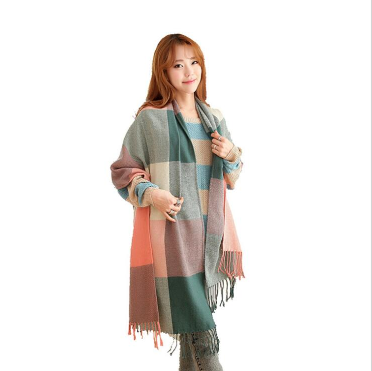 ZLJMICHAEL 2019 Women Winter   Scarf   Girls Long Size Grid Patchwork Pattern   Scarves   &   Wraps   Fashion Accessories