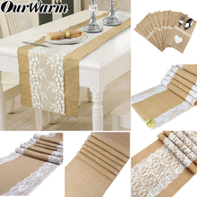OurWarm Natural Burlap Hessian Table Runner Lace Flower Rustic Wedding Vintage Jute Decor Home Party Hotel High Quality