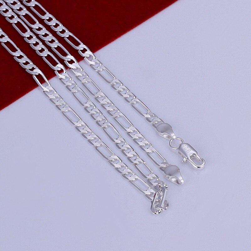 X87 hombres de la moda de joyeria de 4 MM collar de cadena de plata estampado 925 oro 18inch Top calidad del regalo del partido