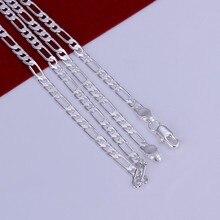 X87 hombres de la moda de joyería de 4mm collar de cadena de plata estampado 925 oro 18 pulgadas top calidad del regalo del partido