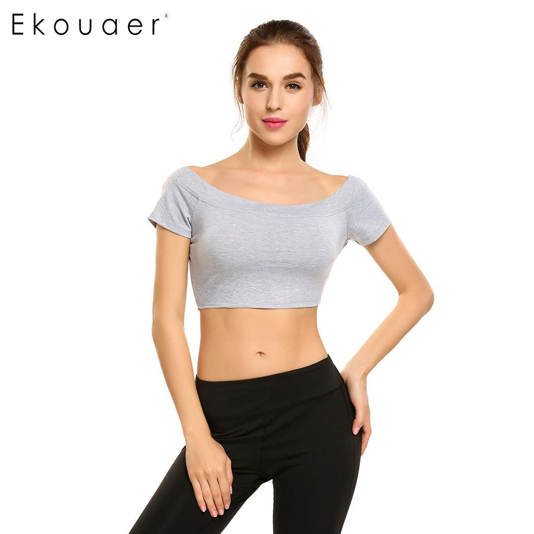 Ekouaer Women Quick Dry Sport Shirt Professional Short Sleeve Breathable Exercises Yoga Top T-Shirts For Gym Running Fitness