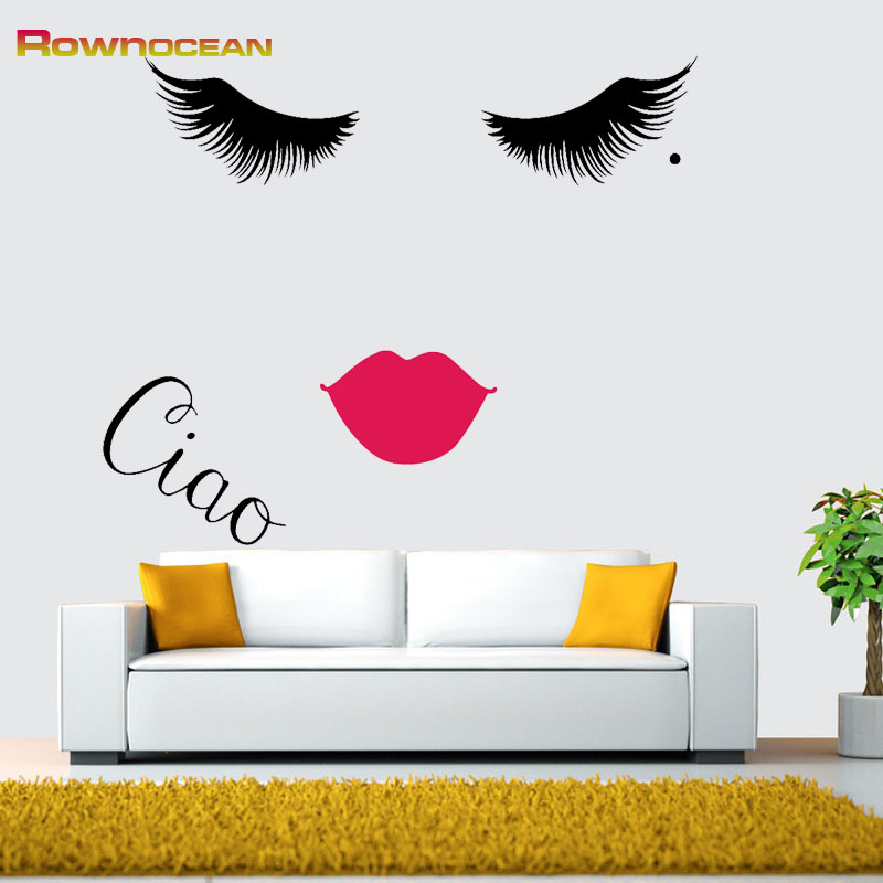 ROWNOCEAN Pretty Girl Ciao Eyelash Lips Wall Stickers On The Wall Art Home Decor Vinyl Decals Living Room DIY Bedroom Quotes B-4
