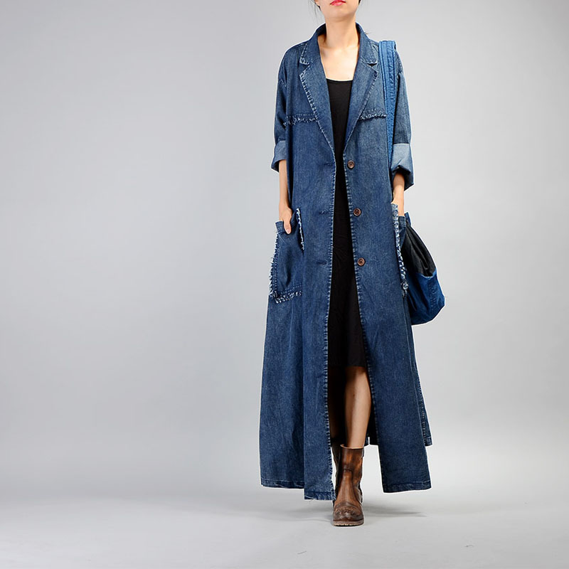 Free Shipping 2019 New Vintage Denim Long Coat For Women Plus Size Loose Tassels Outerwear Long Sleeve Dresses Single-breasted