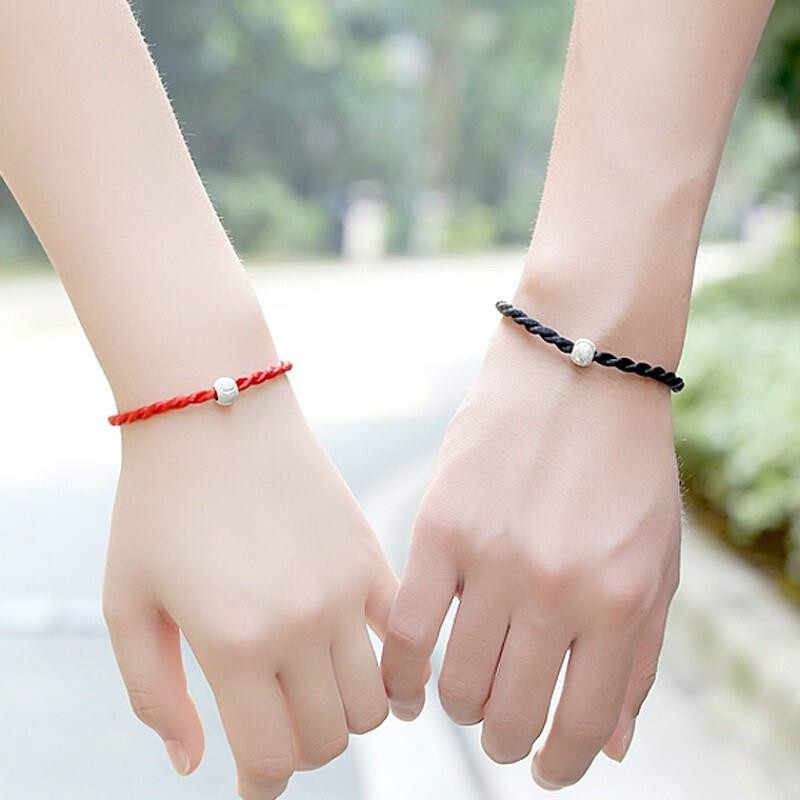 1 PCS Red Black The Rope Chain & Link Bracelets Fashion Lucky Red Black Handmade Rope Bangles for Women Men Lovers Build