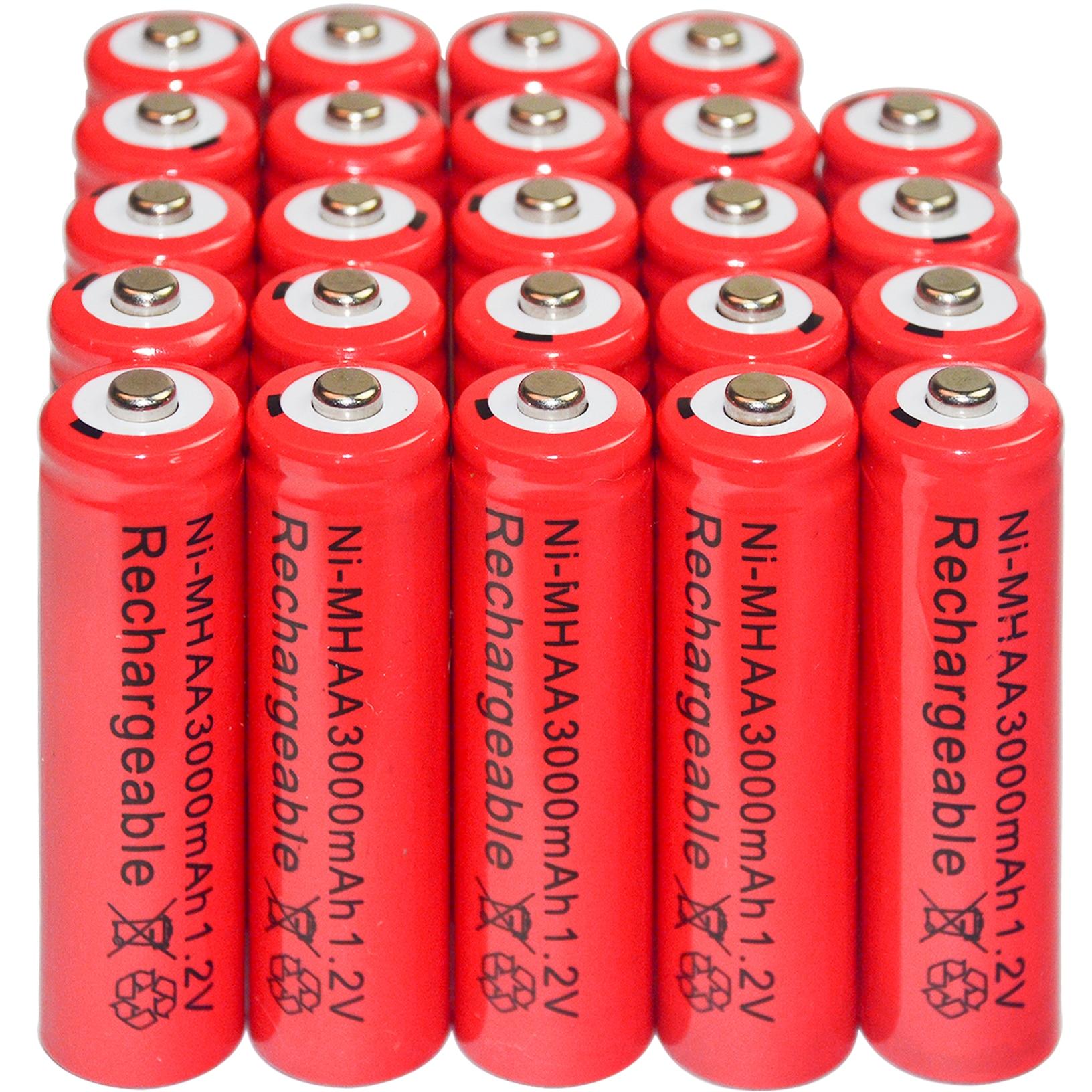 4/8/16/24/32/44pcs AA Ni-Mh 3000mAh 1.2V Rechargeable Battery Red Color Alarm Clock MP3 RC Toys led flashlight цена