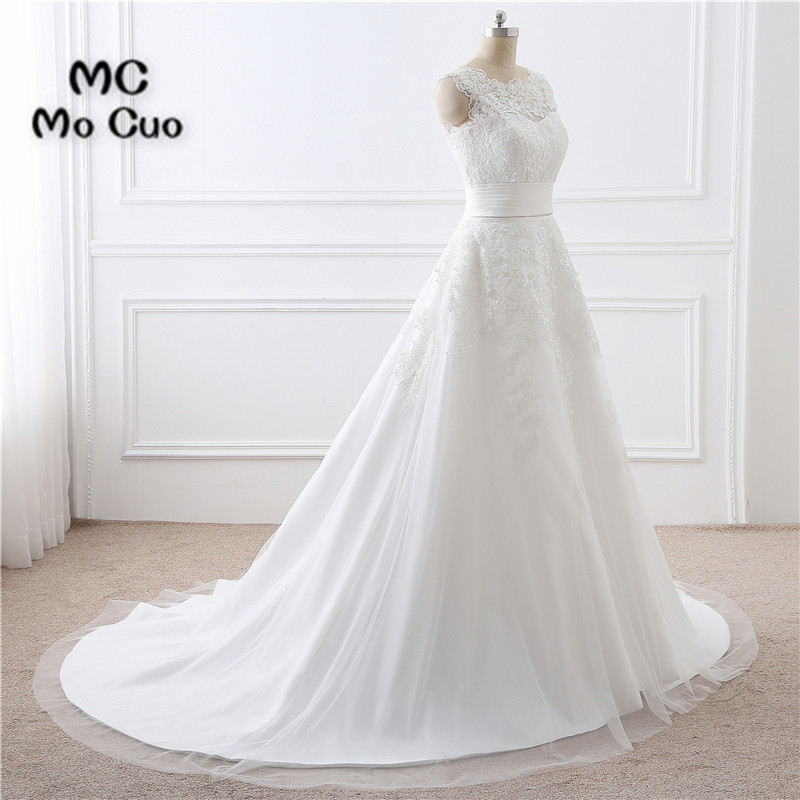 Elegant 2019 Fashion Lace Bridal Gowns Robe de mariage Wedding Dresses Attachable Train Tulle vestido de noiva Wedding Dress