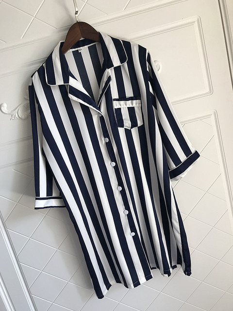 Loose Striped Women Nightgown Sleepwear 3