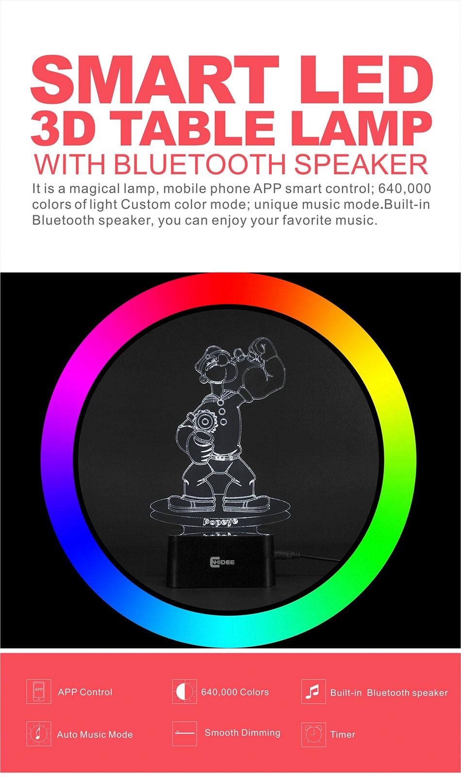 CNHIDEE Lampada Decorativa USB Desk 3D Night Lamp Bluetooth Music Led Table Lamp as Creative Gifts for Cartoon Popeye Fans (1)