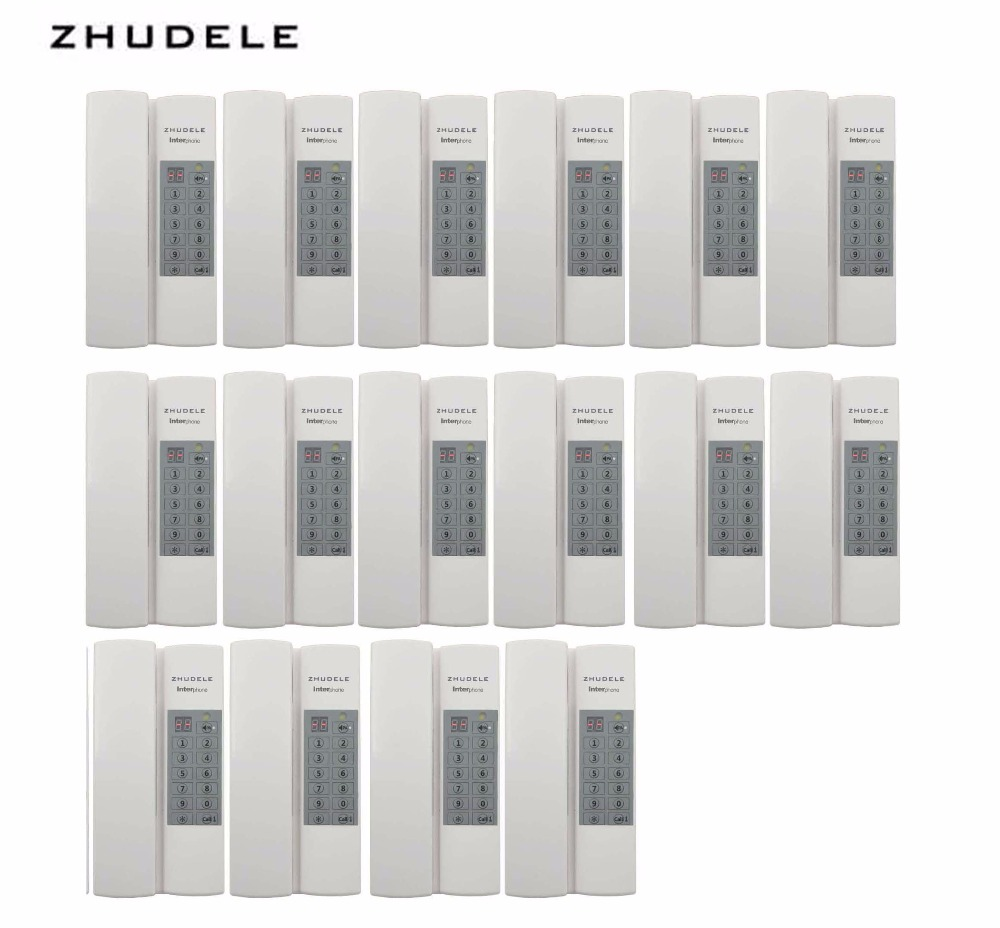 ZHUDELE Reasonable price Indoor safe&comfortable interphone system 16-handles w/t Broadcast/Group calling ,unlock (optional)