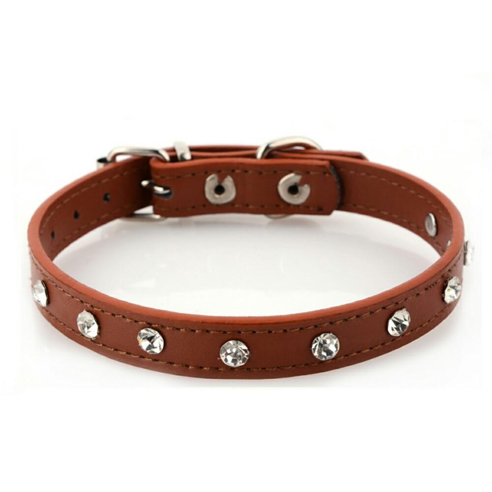 Collar para mascotas de piel sintetica con piedras imitacion diamante 4