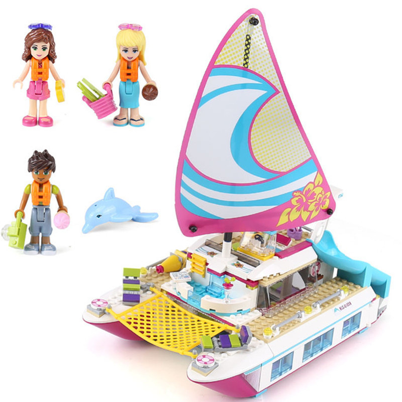 651pcs Diy Girl Friends Sunshine Catamaran Building Blocks Compatible With Legoingly Classic Brick Toys For Children Brinquedos 651pcs diy friends girl series building blocks sunshine catamaran kids bricks toys for children gifts compatible with legoingly