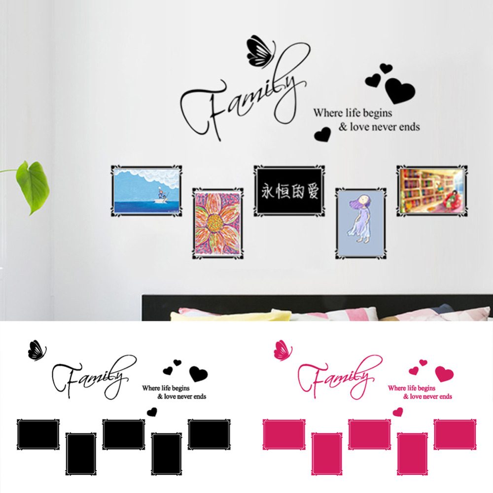 Love Quote Picture Frames Creative Family Love Quote Removable Vinyl Wall Sticker Wall Decal