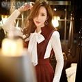 Dabuwawa feminino tops longo-manga outono inverno nova moda coreana magro arco branco t-shirt das mulheres da boneca rosa