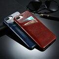 Floveme retro grasa caso para iphone 6 6 s plus 5S cuero esmaltado Ranura Para Tarjeta de Accesorio Del Teléfono Móvil Para iPhone6 Contraportada 7 5 sí