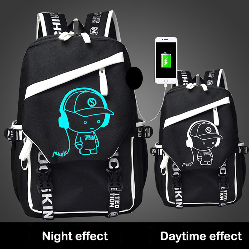 OZUKO Men Backpack Luminous Animation School Bags For Teenagers Casual Student USB Charging Laptop Backpack Fashion