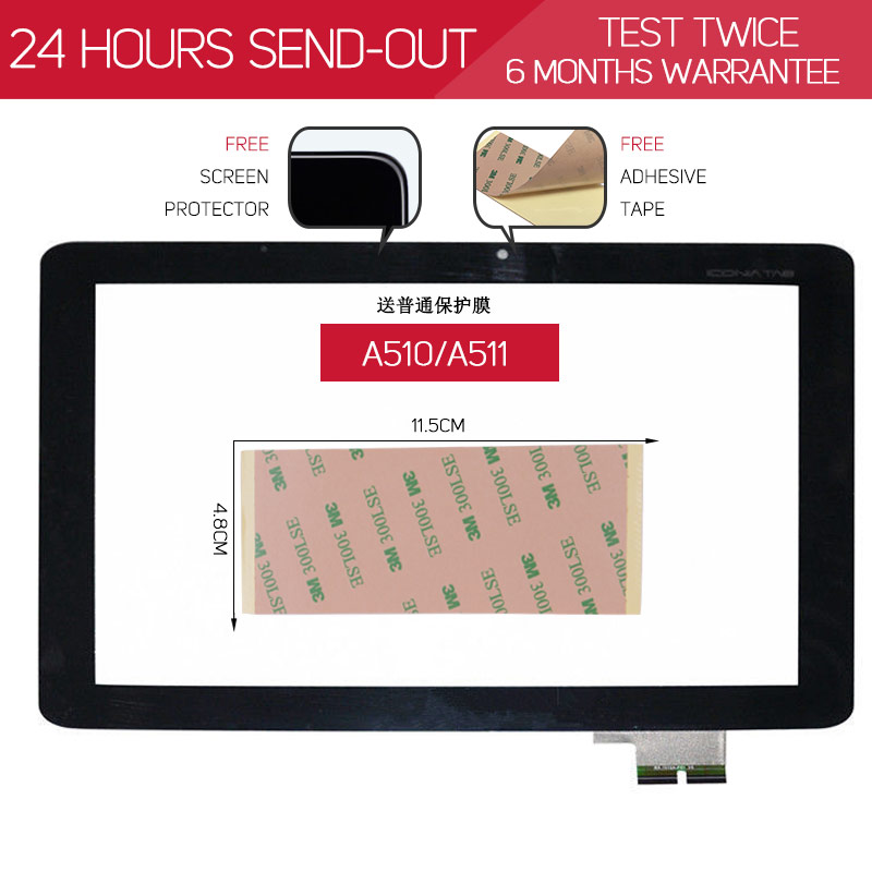 ORIGINAL TESTED 10.1 inch Touchscreen For ACER iConia Tab A510 A511 A700 A701 Touch Screen Digitizer Free Adhesive & Protector