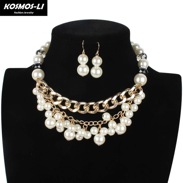 cbf77f0bd Luxury Woven Jewelry Set With Mental Chain For Women Ladies Crystal Pearl  Earrings Pendant Set Multi-layers Necklac