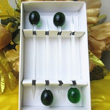 Munuola handmade glass sculpture creative olive fruit fork restaurant tableware accessories dessert gift