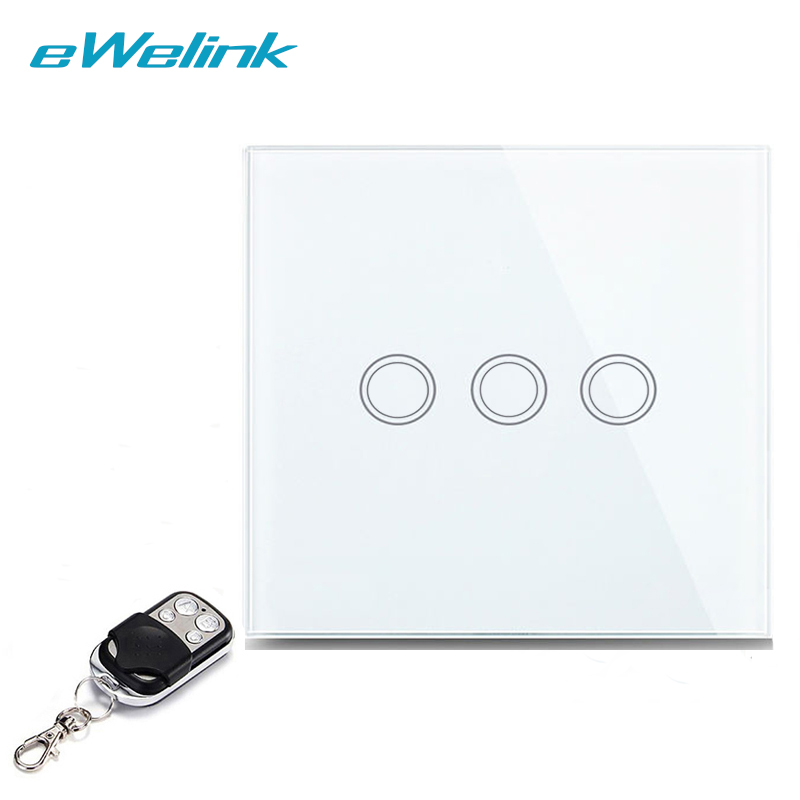 eWelink EU/UK Wireless Remote Control Light Switches, RF433 Remote Control 3 Gang 1 Way Wall Switch, Touch Switch For Smart Home smart home eu touch switch wireless remote control wall touch switch 3 gang 1 way white crystal glass panel waterproof power