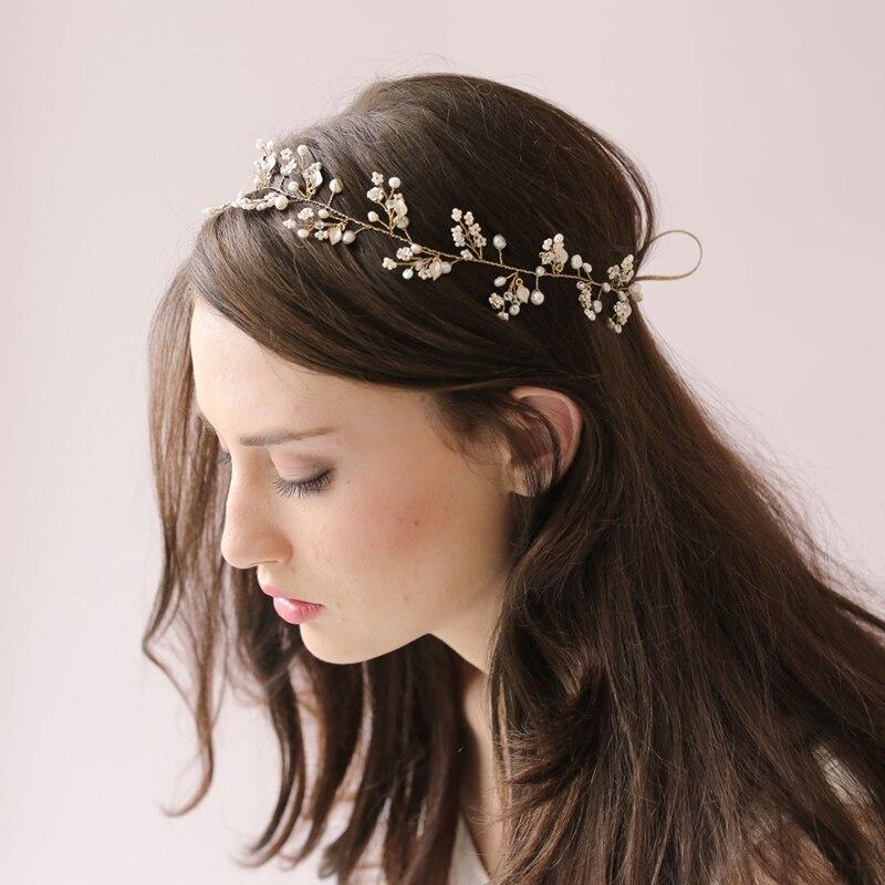 Aesthetic Fashion High Quality Bridal Crystal Wedding Headbands For Women Headwear Party Flower Hair Band 21-50cm O015