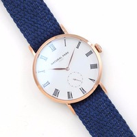 Unisex Waterproof Wrist Watch Japanese Quartz Fashion Rose Gold Case Bule Nylon NATURAL PARK Men Watches