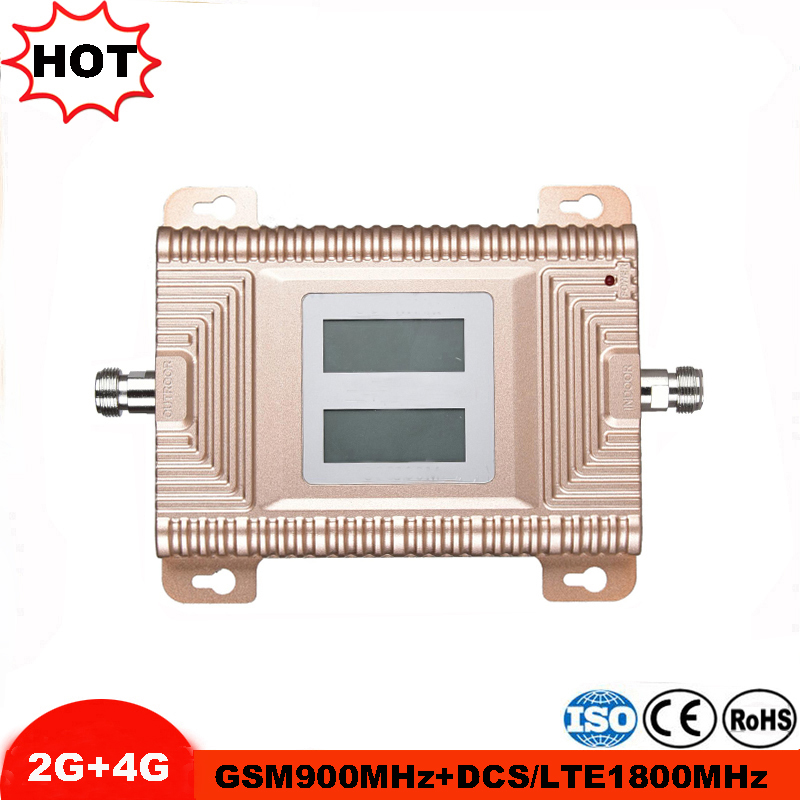 LCD Display GSM 900 4G LTE 1800 Repeater GSM 900 1800 Mhz Cellular Signal Booster 65dB Dual Band Amplifier Repetidor Celular