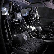كامل الماس حجر الراين مقعد السيارة يغطي مجموعات العالمي الشتاء أفخم الفراء السيارات وسادة مقعد الكريستال الداخلية اكسسوارات