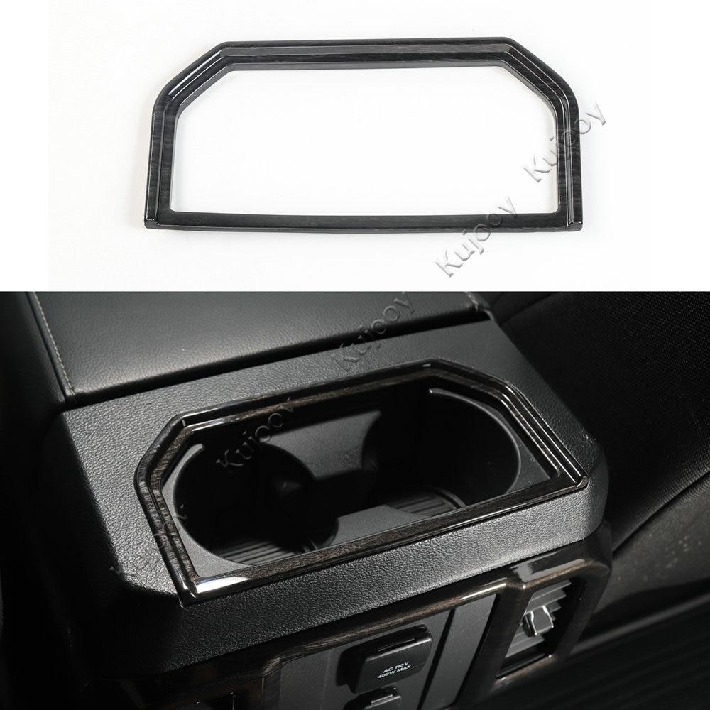 Noir en bois Grain ABS accoudoir boîte de rangement support de verre d'eau cadre décor décalque couverture garniture pour Ford F150 2016 + voiture style