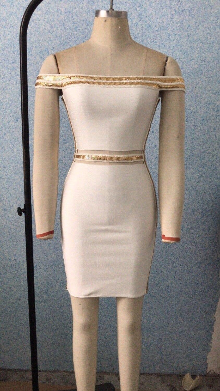 Sequin Slash Bandage Mini Robe Épaule Cou En Sexy Femmes Th Et Blanc 2018 Gros Or Dropshipping Été 62 Off Z7wIdnqd
