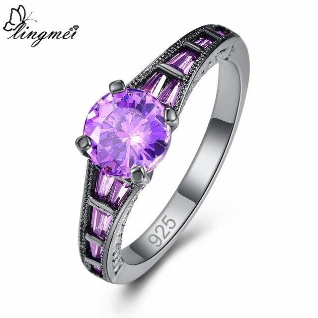 Lingmei Wholesale Wedding Bride Classic Jewelry RoundPurpleRed Zircon Silver Color Black GoldRing Size 6-9