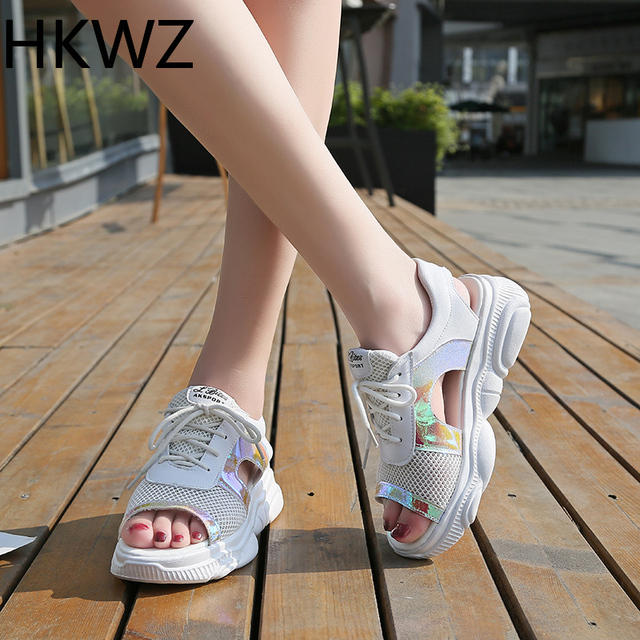 2019 summer thick-soled sandals female muffin bottom girl fish mouth mesh breathable versatile flat colorful casual high sandals