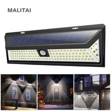 Солнечный садовый светильник с датчиком движения, светодиодный светильник на солнечной батарее, Уличный настенный светильник для безопасности, перезаряжаемый светильник