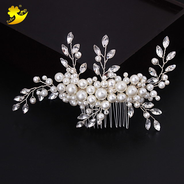 e1c9f9eb0f Xinyun Wedding Hair Accessories Romantic Crystal Pearl Hairpin Rhinestone  Hair Tiara Bridal Crown Hair Pins Bridal Headpiece