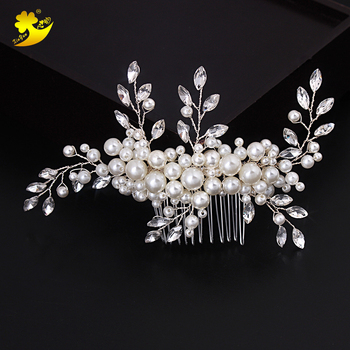 Xinyun 結婚式のヘアアクセサリーロマンチックなクリスタルパールのヘアピンラインストーンヘアティアラブライダルクラウンヘアピンブライダルヘッドピース