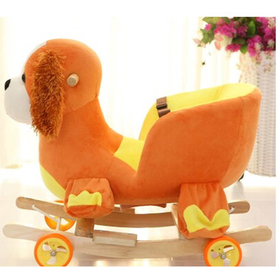 2018 New Cute Plush Baby Dog Puppy Rocking Chair Sofa Pillow Children Wood Swing Seat Ki ...