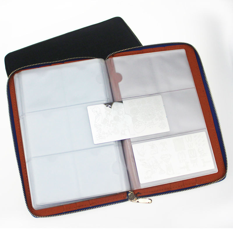 High quality 120slots Nail Stamp Plate Synthetic Leather Folder/Holders/Cases Nail template album,plate case,sorting plate bag