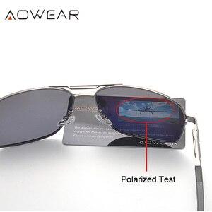 Image 4 - AOWEAR Polarized Sunglasses Men HD Driving Aluminum Mirror Sun glasses Brand Designer Aviation Eyewear Accessories gafas de sol