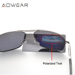 Image 4 - AOWEAR gafas de sol polarizadas para hombre, lentes de sol masculinas con espejo de aluminio HD para conducir, de diseñador de marca, accesorios de aviación