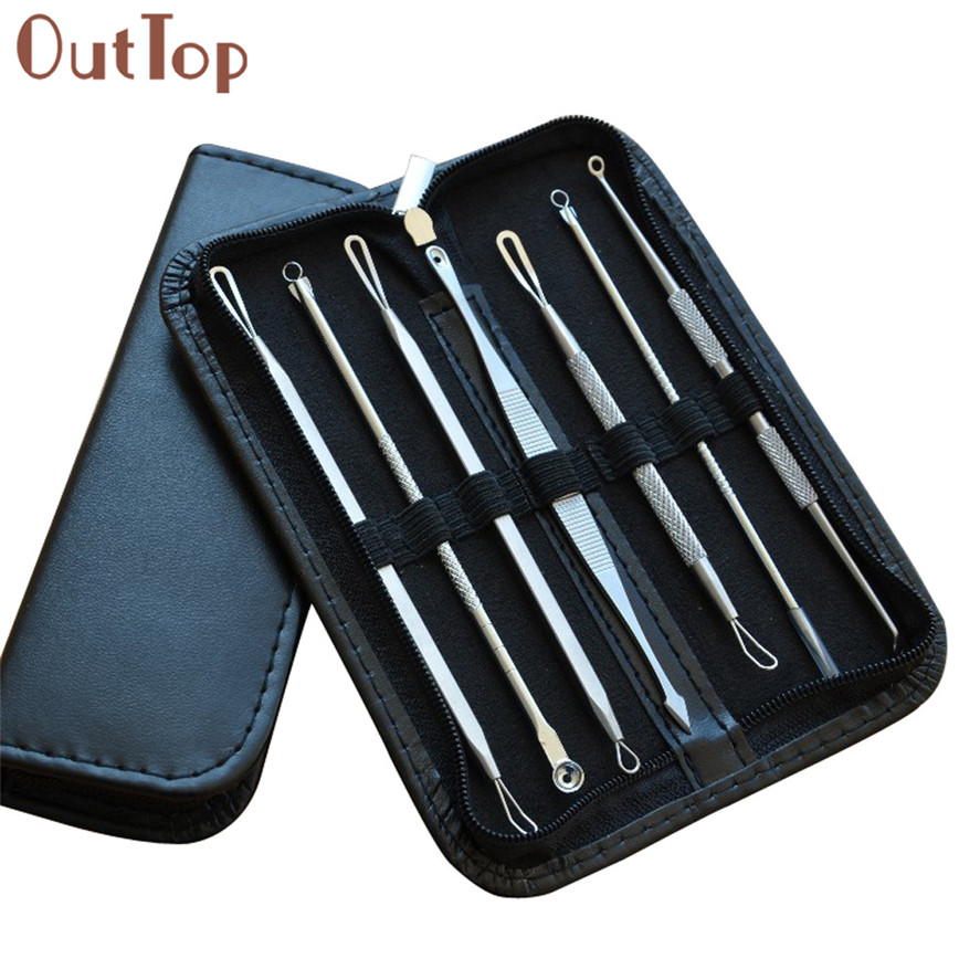 OutTop 7Pcs/Set Facial Blackhead Whitehead Facial Acne Spot Pimple Remover Extractor Tool Kit Cosmetic Cleaning Tool Pretty
