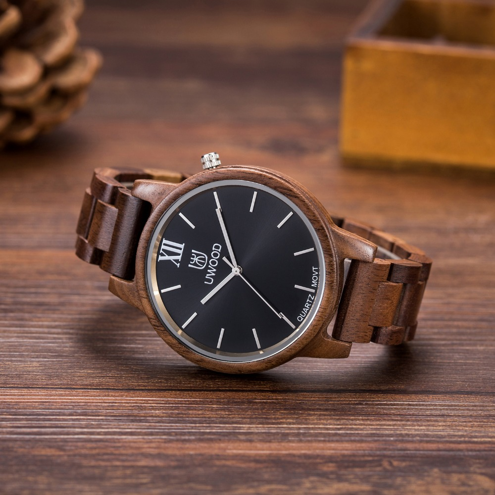 2017 Luxury Brand UWOOD Men Wooden Watch Japan Quartz Movt Analog Fashion Male Wristwatches Casual Relogio Feminino Relojes brand oulm 9316b japan movt big face watches men triple time rose gold luxury analog digital casual watch relogio male original