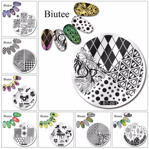 Biutee 1pc 20 Designs Nail Stamp Plate Classical Stripes Leaves Flowers Animals Star Musical Instruments Nail Template Lahore