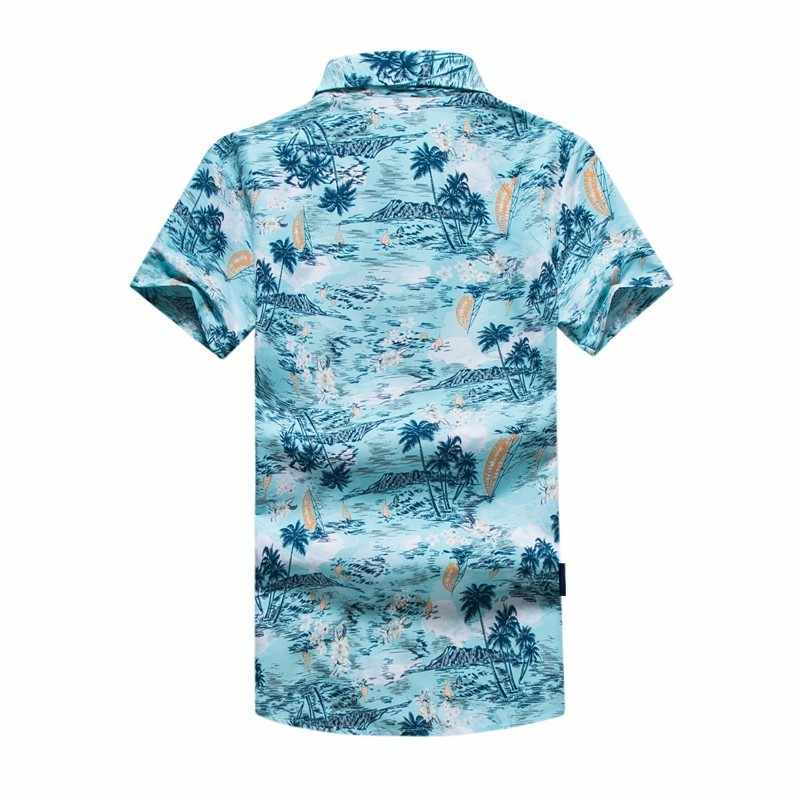 2b5473c6 ... Blue Quick Drying Short Sleeve Print Shirts Men's Hawaii Beach 2018 New  Casual Polyester Coconut Trees ...